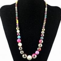 Quality Acrylic Gradient Color Beaded Necklace, Made of Acrylic, Customized Specifications are Welcome for sale