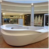 China Unique Curved Reception Counter , Solid Surface Hotel Reception Desk on sale