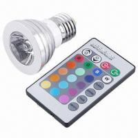 Quality Multi-color LED Bulb with 3W Power, E27 Base, 200lm Luminous Flux and 100 to 240V AC Voltage for sale