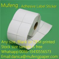 China Direct Thermal Adhesive Backed Paper Roll With White Glassin 40mm Paper Core on sale