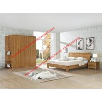 China Nordic design Bedroom furniture by teak wood bed and nightstand with large size open door wardrobe on sale
