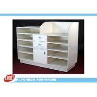 China 5 Layers MDF White Shop Cash Counter Desk For Shop Payment , 3 Drawers on sale
