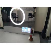 Silver Bathroom Television Mirror Multi Language , HD Mirror Tv With Defogger Front Panel