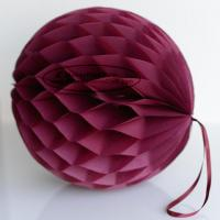 Quality DIY Burgundy Tissue Paper Honeycomb Balls Pom Poms With Loop For Hanging for sale