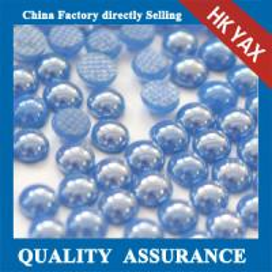 Quality 0518C Blue 5mm half round flatback pearls,flatback half round pearls beads for decoration for sale