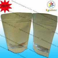 Stand Up k Brown Kraft Customized Paper Bags With Window For Snack Packaging