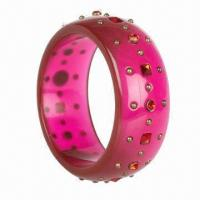 Quality Fashionable Bangle, Made of Resin and Lucite, Decorated with Rhinestones for sale