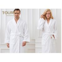 China Unisex White Shawl Collar Robe100% Cotton Quilted Hotel Style Terry Cloth Robes on sale