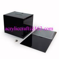 China Black acrylic coin box / desk top cube acrylic ballot box with lock and key on sale