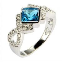 Quality 2014 Gold plated wedding rings for women blue and white color  TJ0017 for sale