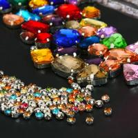 Quality colorful crystal beads sewing beads crystal stone with metal claw setting for sale