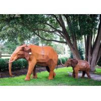 Quality Out Door Animal Corten Steel Sculpture Elephant Garden Statue Life Size for sale