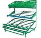 Quality 3 Layers Green Metallic Fruit And Vegetable Rack Display Stands With Label for sale