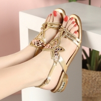 Quality BS046 New Style Rhinestone Sandals, Women'S Summer Fashion, Low-Heel Crystal Sandals, Women'S Golden Flat Sandals And Sl for sale