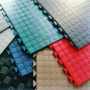 China PVC Interlocking rubber floor tiles for warehouse workshop mat floor leather on sale