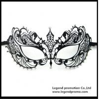 Quality Hot Sell Wholesale Luxury Sex Appeal Black Metal Laser Cut Masquerade Mask With Rhinestone for sale