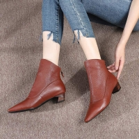 Quality HZM031 Cowhide Women'S Single Shoes Autumn And Winter New British Style Women'S Shoes Retro All-Match Derby Shoes Soft S for sale