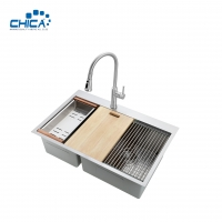 China 304 Stainless Steel Sheet Handmade House Kitchen Sinks Double Bowl Kitchen Sinks For House on sale