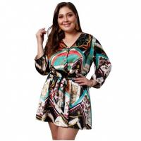 Buy cheap Women Plus Size Ladies Casual Beach Dresses Long Sleeve Print Dresses from wholesalers