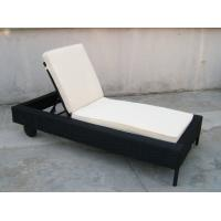 Quality Patio Black Adjustable Rattan Sun Lounger With White Cushion for sale