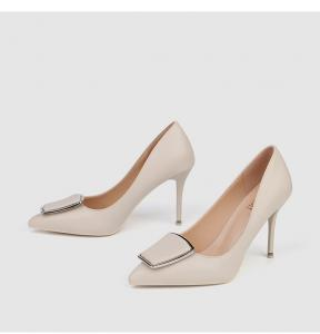 Quality ZM008 929-40 Square Buckle Single Shoes Women 2020 Spring New Women'S Shoes Shallow Mouth Stiletto Pointed Toe Ladies Hi for sale