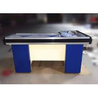 Quality Metal Steel Supermarket  Checkout Counter Cashier Table With Conveyor Belt for sale