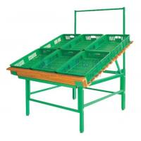 Quality Custom Green Heavy Duty Supermarket Fruit and Vegetable Display Stands for sale