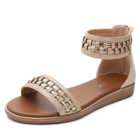 Quality BS047 Bohemian Flat Sandals Amoi European And American Style Rear Zipper Open Toe Roman Shoes Large Size Sandals Women for sale