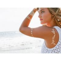 Quality custom metallic gold jewel temporary tattoos for sale