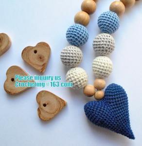 China Baby sling necklace, baby bracelet, crochet bracelet, teething bracelet, crochet long funky beaded necklace on sale