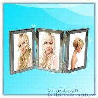 Quality Frames Brushed Silver 4 by 6 Hinged Triple Metal Picture Frame for sale