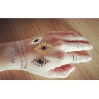Quality colored gold foil temporary tattoo customized metallic tattoo for sale