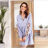 Buy cheap Fashion V Neck Embroidery Female Casual Dresses / Striped Long Sleeve Casual from wholesalers