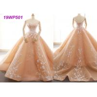 Quality Bright Nude Multi Colored Wedding Gowns With Petticoats And Lace Long Sleeves for sale