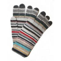 China Hand made color strip knitted glove on sale
