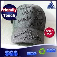 Quality Dark Grey 100% Cotton Unisex Baseball Caps Sweatband 3D Raised Emebroidered Logo for sale