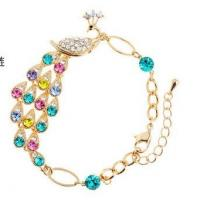 Quality Top Crystal bracelets and bangles Rose Gold plated chains colorful peacock design  TJ0052 for sale