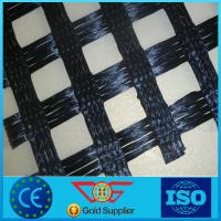 China Reinforcing Warp Knitted polyester Geogrid 40kn/m pvc coated on sale