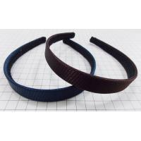 Quality 2cm wide plastic hairband with wrapped nylon fabric in brown or navy for sale