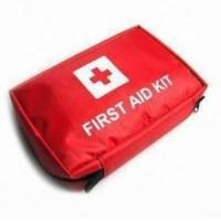 Quality Travel First Aid Kit with Multiple Compartments and Black Nylon Mesh Zipper Pockets for sale