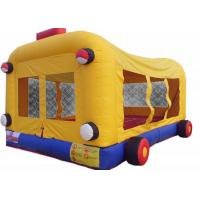 Quality Kids Jumper Inflatable Bouncer Combo Bus Themed With Double Stitching for sale
