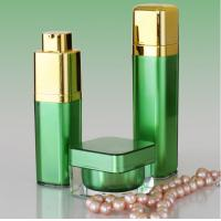 China Golden Pump Acrylic Lotion Bottles Jars, Green Square Acrylic Cosmetic Package Bottle Jars on sale