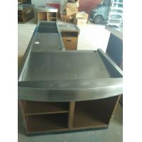 Quality Automatic Conveyor Belt Checkout Counter Stands With Stainless Steel Border for sale