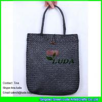 Quality black straw handbags handmade seagrass straw tote beach bags for sale