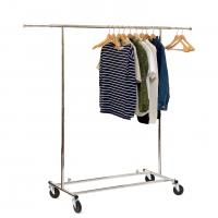 Quality Chrome Metal Clothing Rack On Wheels / Extendable Rods Portable Metal Clothes Rack for sale
