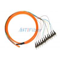 China ST 0.9mm Breakout Fiber Optic Pigtail , 12 core Optical Cable on sale