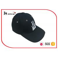 Quality 10856 Cotton Twill Baseball Caps Hats , Black Sports Cap With 3D Embroidery for sale