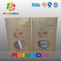 Quality Food Grade Brown Kraft Customized Paper Bags With Front Window And Zipper for sale