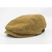 Brown Peaked Duck Bill Knitting Wool Hat Winter For Lady , Cotton Lining