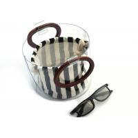 Buy Canvas Round Shape Navy Blue Clutch Bag Stripe Pattern With Wood Handle 0.8 MM at wholesale prices